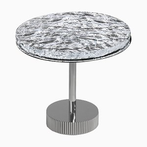 Miller Side Table with Artistic Glass Top and Chrome Metal Base by Claudio Cappellini for Hessentia