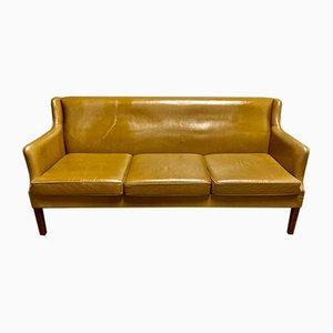 Scandinavian Leather Sofa, 1950s