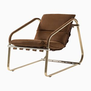 Pauline Armchair in Leather and Brass by Claudio Cappellini for Hessentia
