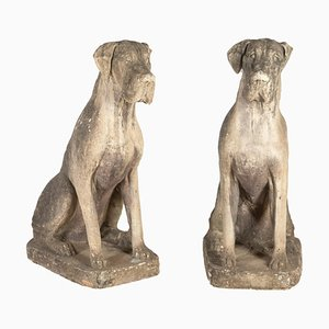 Large Stone Great Danes, Set of 2