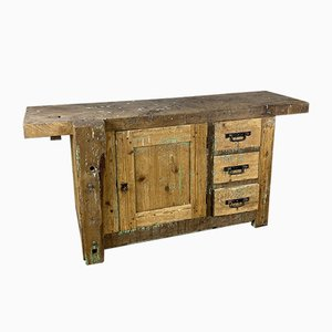 Pine Cabinet with Wheels