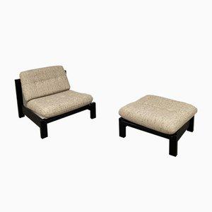 Vintage Oak Black Armchair and Footrest, 1950s, Set of 2