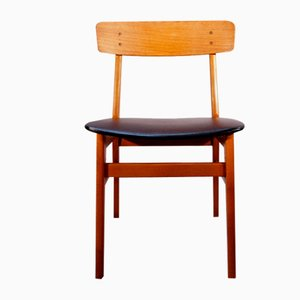 Side Chairs in Teak and Beech with Seats in Leatherette, Set of 4