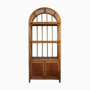 Arched Wall Cabinet with Rattan and Bamboo Shelves