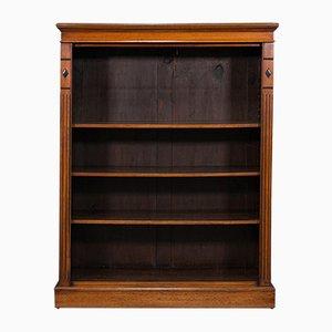 Antique Victorian English Open Bookcase in Walnut, 1880s