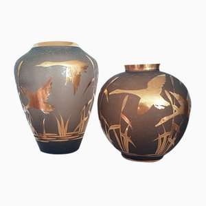 Etched Glass Vases with Gilt Decoration and Rim by Alfred Taube for Füge & Taube, 1960s, Set of 2