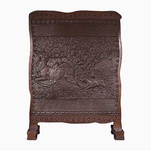 Antique Edwardian Arts and Crafts Embossed Fireplace Screen in Oak & Leather