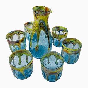 Handgefertigtes italienisches Vintage Geschirr aus Muranoglas, 7er Set