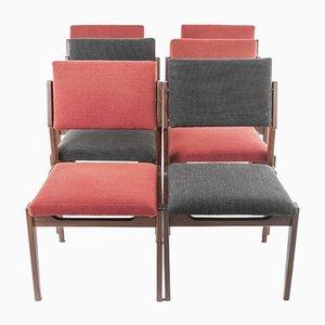 Vintage Esszimmerstühle aus Holz & Stoff von Arflex, 1950er, 6er Set