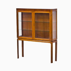 Brass and Mahogany Display Cabinet by Carl Axel Acking, 1940s