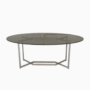 Brushed Aluminum & Smoked Glass Table by Paul Legard, France, 1970s