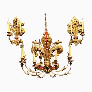 Gilded Iron Chandelier and Wall Lights Set, 1940s