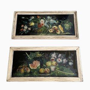 Large Vintage Italian Fruit and Flower Paintings, Set of 2