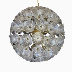 Lámpara con flores de cristal de Murano