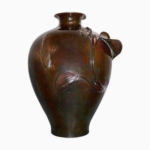 Japanische Meiji Bronze Vase, 19. Jh