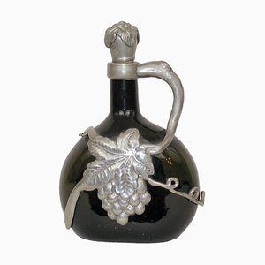 Danish Glass and Pewter Decanter with Stopper, 1930s
