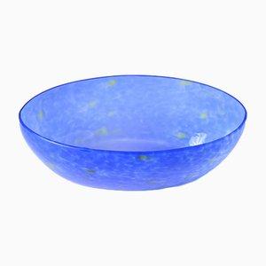 Vintage Blue Splatter Effect Glass Bowl, 1930s