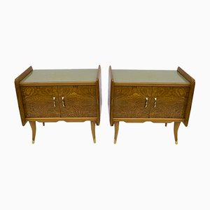Art Deco Tables in White Burl Ash, Italy, 1920s, Set of 2