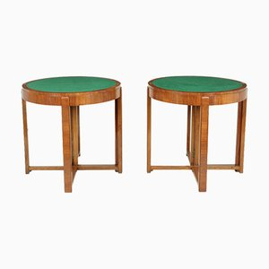 Art Deco Walnut Card or Console Tables, Set of 2