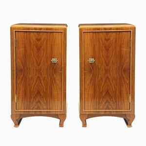 Art Deco Walnut Bedside Cabinets, Set of 2