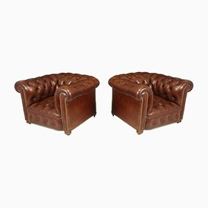 Vintage Leather Chesterfield Club Chairs, Set of 2