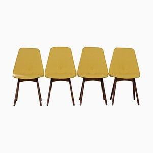 Gelbe Esszimmerstühle aus Teak von Van Os, 1950er, 4er Set