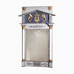 Swedish Mirror with Guilt Carving and White Columns, 1810s