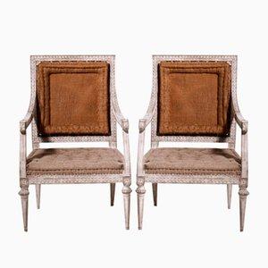 19th Century Gustavian Armchairs, Set of 2