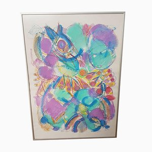 Mid-Century Abstract Chalk Painting