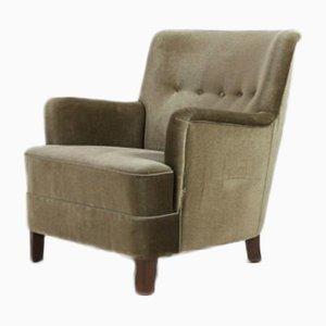 Danish Lounge Chair in Velvet Upholstery from Fritz Hansen, 1940s