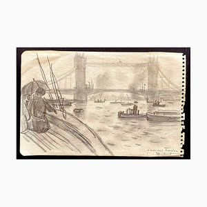 Robert Louis Antral, Boats on the Thames, Drawing, 1920s