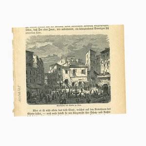 Unknown, Ancient View of the Ghetto in Rome, Lithograph on Paper, 19th Century
