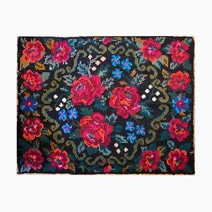 Colorful Floral Handwoven Wool Kilim Rug