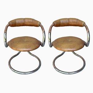 Chrome Tubular Dining Chairs from Tecnosalotto, Italy, Set of 2