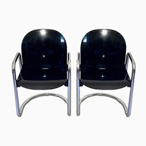 Dialogo Chromed Dining Chairs by Tobia Scarpa for B&b Italia, Set of 2