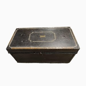 Antique Georgian Military Leather Bound Wood Trunk Chest