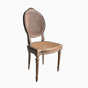 Antiker französischer Bergere Stuhl aus Schilfrohr