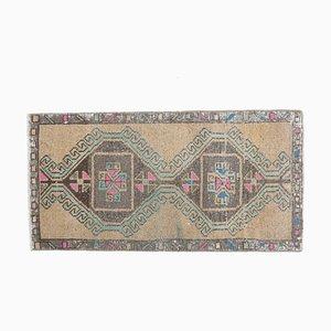 Turkish Vintage Handmade Wool Brown Rug