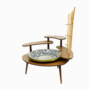 Large Mid-Century Flower Table for Indoor Plants with Mosaic Fountain Bowl