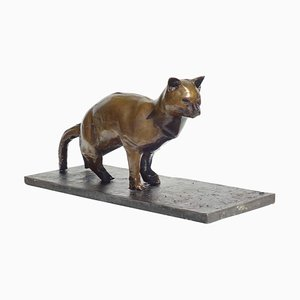 Cat Bronze Sculpture by Augusto Perez