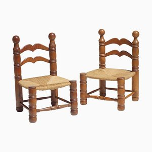 Wicker and Oak Chairs by Charles Dudouyt, 1940s, Set of 2