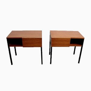 Teak Bedside or End Tables in the Style of Minvielle, 1960s, Set of 2