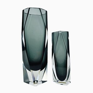Hand-Cut Grey Faceted Sommerso Murano Glass Gotham Collection Vases by Mandruzzato, Italy, 1970s, Set of 2