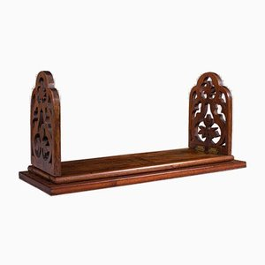 Antique Victorian English Book Slide or Library Stand in Rosewood & Mahogany, 1900s