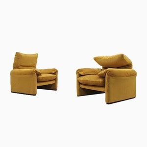 Maralunga Armchairs by Vico Magistretti for Cassina, 1970s, Set of 2