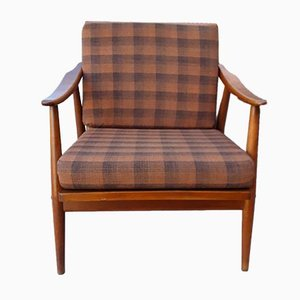 Vintage Club Chair with a Brown Beech Frame & Patterned Wool Cushion from Bergmann, 1970s