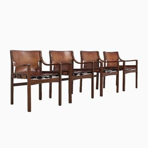 Vintage Brazilian Leather Dining Chairs, 1960s, Set of 4