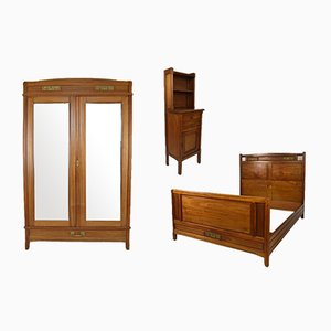 Art Nouveau Clematis Bedroom Set in Mahogany by Mathieu Gallerey, Set of 3