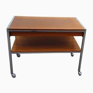 Vintage Table on Wheels with Chromed Steel Tube Frame, Teak Veneer Shelves and Drawers, 1970s