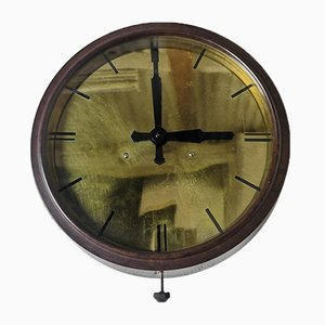 English Bakelite & Brass Electric Factory Clock from SEC Smiths, London, 1940s